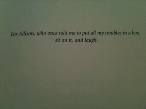 The dedication page from my first novel, Snow Day